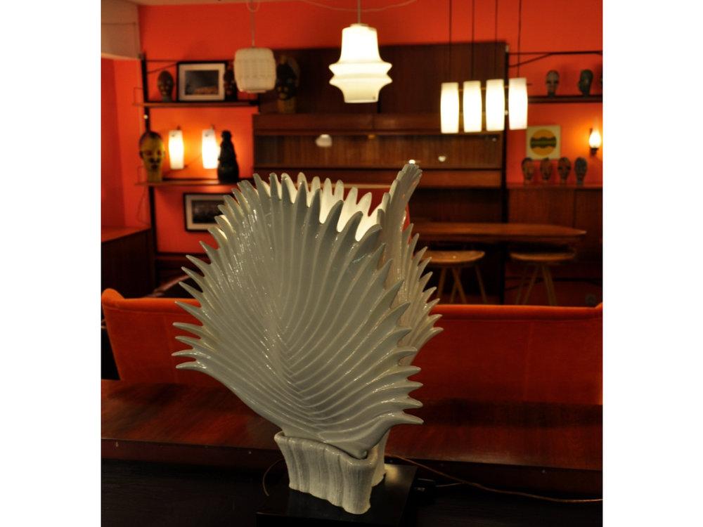 Wit porseleinen tafellamp Italiaans design jaren '50.