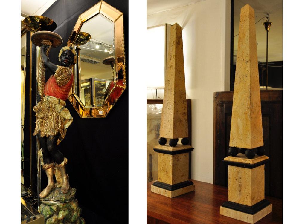 Blackamoor vloerlamp/uplighter. Marmeren obelisks.
