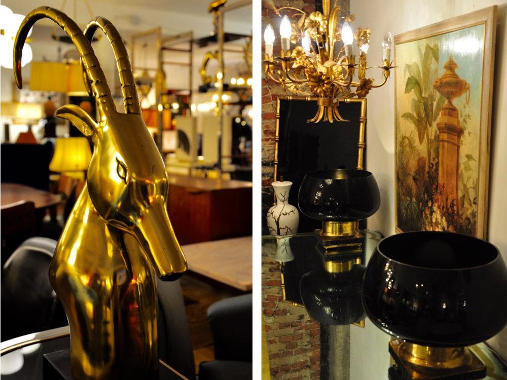 Messing kop. Vazen van Murano glas. Vergulde kroonluchter.