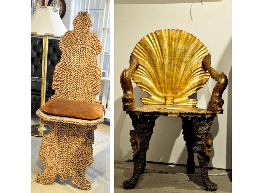 Deze stoeltjes zijn wel mijn favoriet. De vormgeving van de grotto shell chair rechts en de kleine schelpjes op de stoel links.