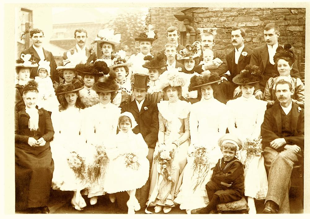 James is sitting on front row on the far right, and standing behind him is his wife Emma. The bride is my great grandma, James' daughter Emma Evans Threlkeld, and the groom is my great grandpa, John Way. I love the rakish angle of his hat! This photograph was taken on 15th September 1901. In two days' time it will be their 144th wedding anniversary.