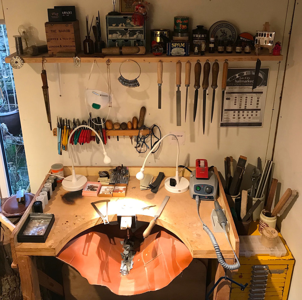 A view of our main studio workbench and lots of our tools