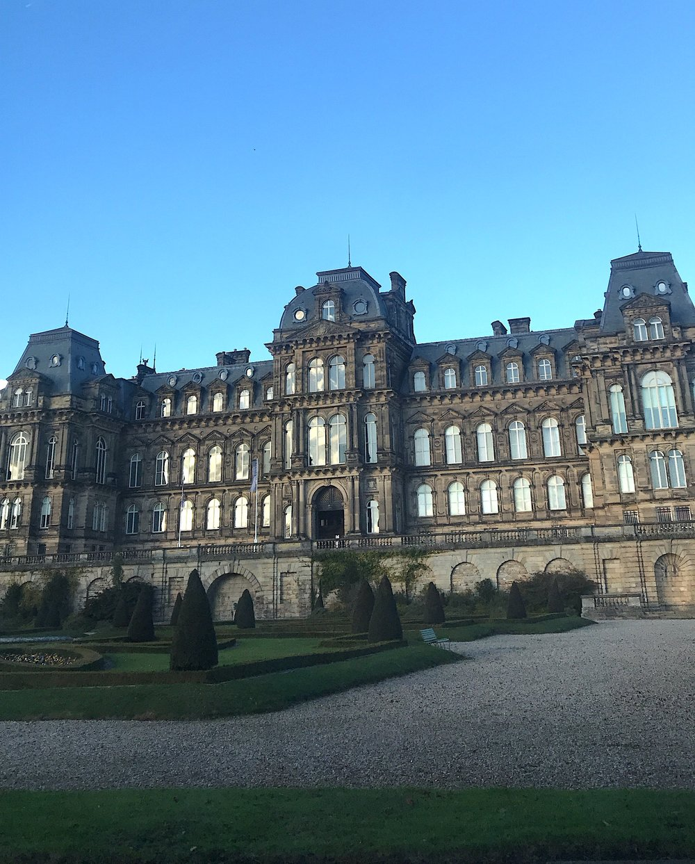 The fabulous chateau-inspired architecture of the Bowes Museum in the market town of Barnard Castle, County Durham, in the wintery afternoon light of delivery day.