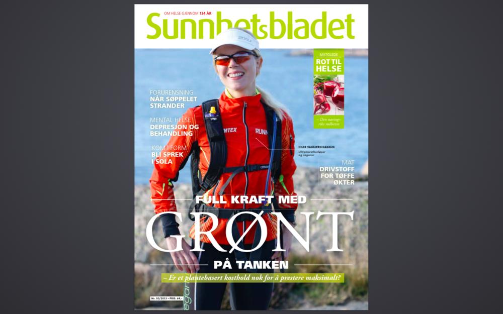 Sunnhetsbladet nr 3, 2015 har en stor sak om idrett på vegetarkost. Vegetarløperen Hilde Valbjørn Hagelin på forsiden.