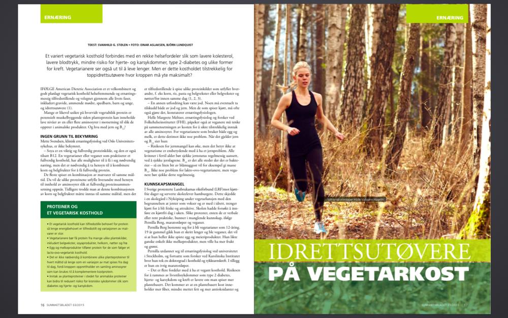 Stor sak om idrett og vegetar i Sunnhetsbladet nr 3, 2015. Intervju med Vegetarløperen Hilde Valbjørn Hagelin.