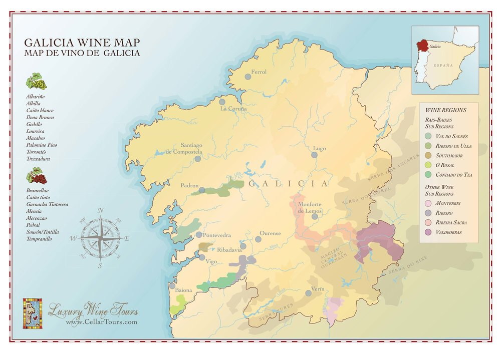 MAP OF GALICIA - Photo:  Cellar Tours