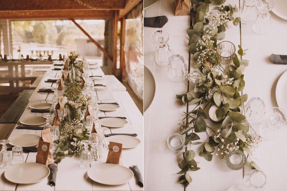 Magnifique décoration de table de mariage en blanc, Eucalyptus et Gypsophile.