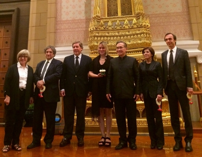 Utrikesministern och EU-delegationen fv. Ulrike Rodust, Gabriel Mato, Rocardo Serrao Santos, Linnéa Engström, Izaskun Bilbao, Ambassdören Jesus Sanz