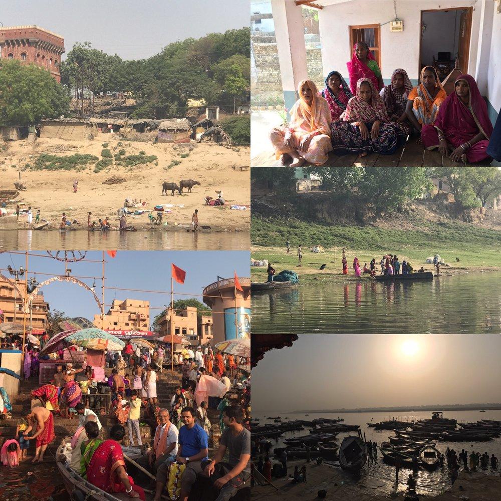Floden Ganges, Tulsi Ghat dit hiduerna vallfärdar för heliga bad. Daliterna i fiskebyn