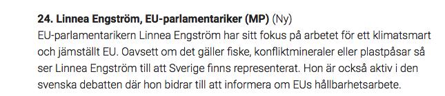 """Varje år släpper tidningen Aktuell Hållbarhet sin lista på """"miljömäktigast i Sverige"""". I år 2017 är jag på plats nummer 24! Väldigt roligt! Läs mer här:http://www.aktuellhallbarhet.se/personerna-pa-plats-21-30-pa-listan/"""