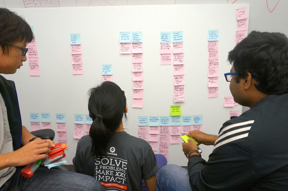Affinity Diagram  is a technique our team used to organize all the research data, ideas and insights. All the information gathered during the field research are placed on post-its and rearranged until clusters of similar information are naturally formed.