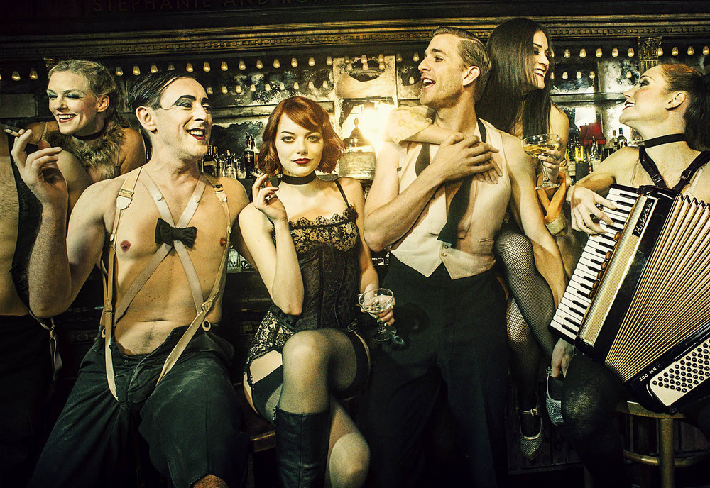 Emma Stone and Alan Cumming with Cabaret Cast