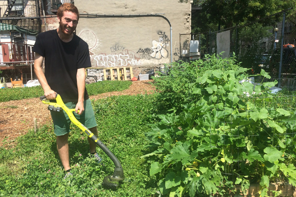 Corey trims the cover crop around the new vegetable beds