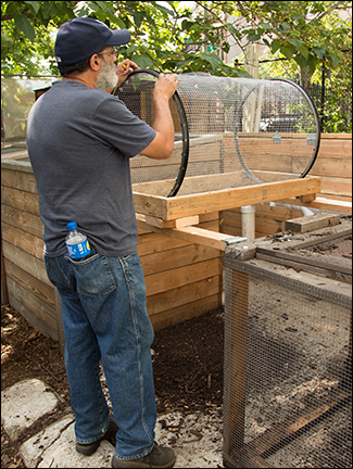 Build a Bike Rim Compost Screener, 2016   Visit our Youtube channel for instructions
