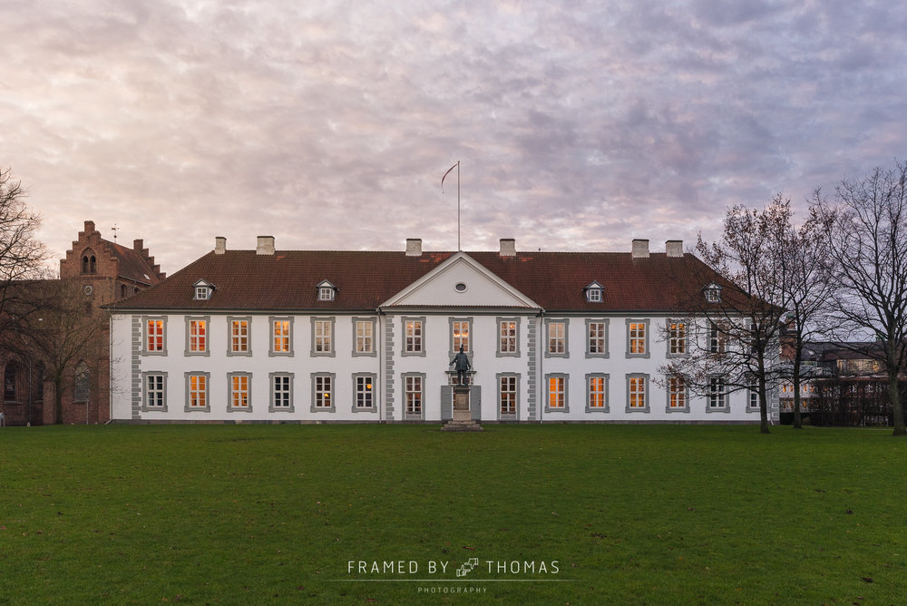 Odense, Denmark - December 7, 2015: The front of Odense slot (ca