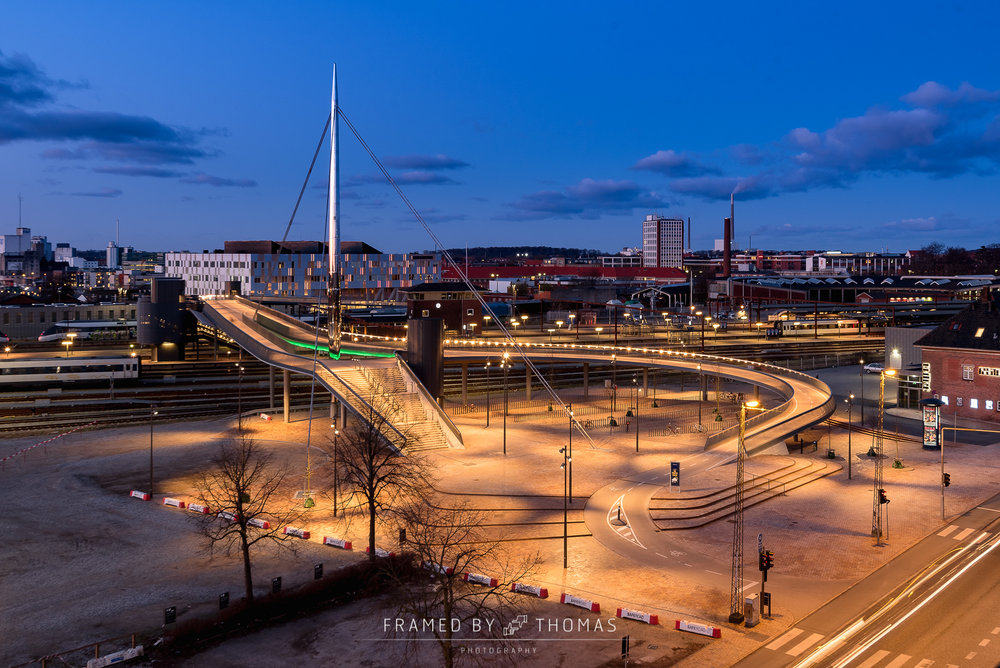 City bridge in Odense at twilight
