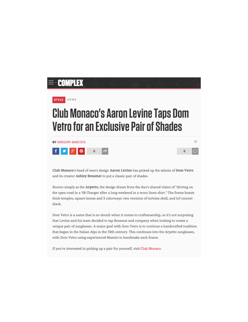 Complex Dom Vetro x Club Monaco