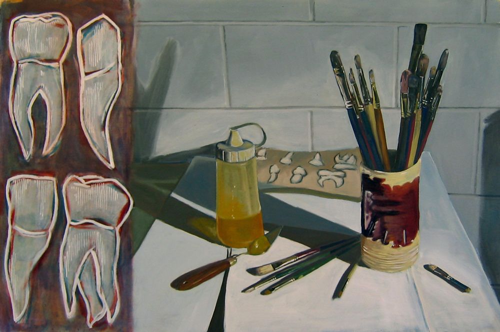 Teeth and Brushes  Oil on paper