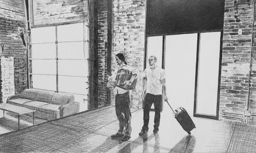 Moving In  Ep 2 Scene 3 Graphite on paper