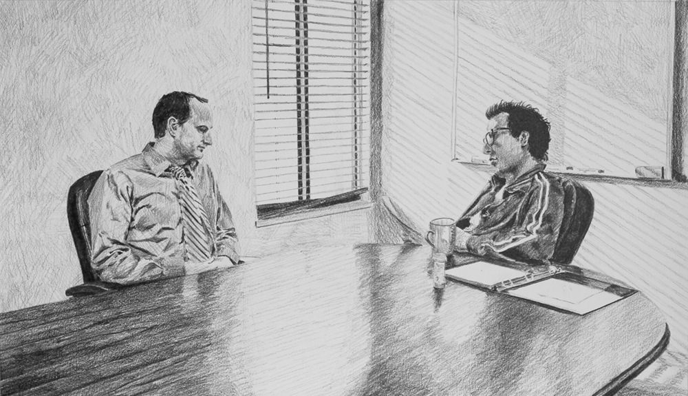 The Interview  Ep 1 Scene 1 Graphite on paper