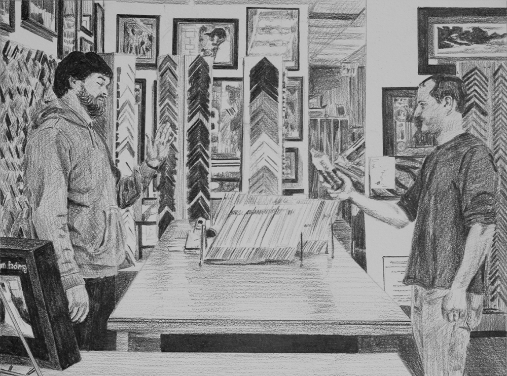 Offering Snake Sauce  Ep 4 Scene 10 Graphite on paper