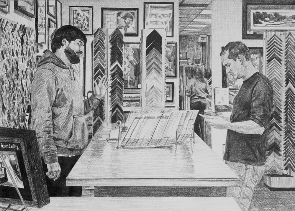 Ordering Frames  Ep 4 Scene 5 Graphite on paper