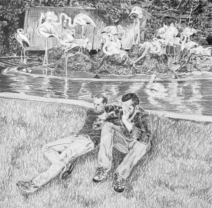 Spying on the Zookeeper  Ep 4 Scene 4.2 Graphite on paper