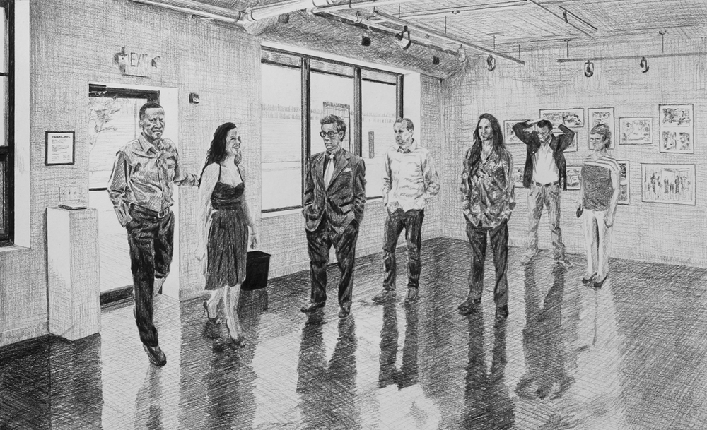 Attending the Art Exhibition  Ep 4 Scene 13 Graphite on paper