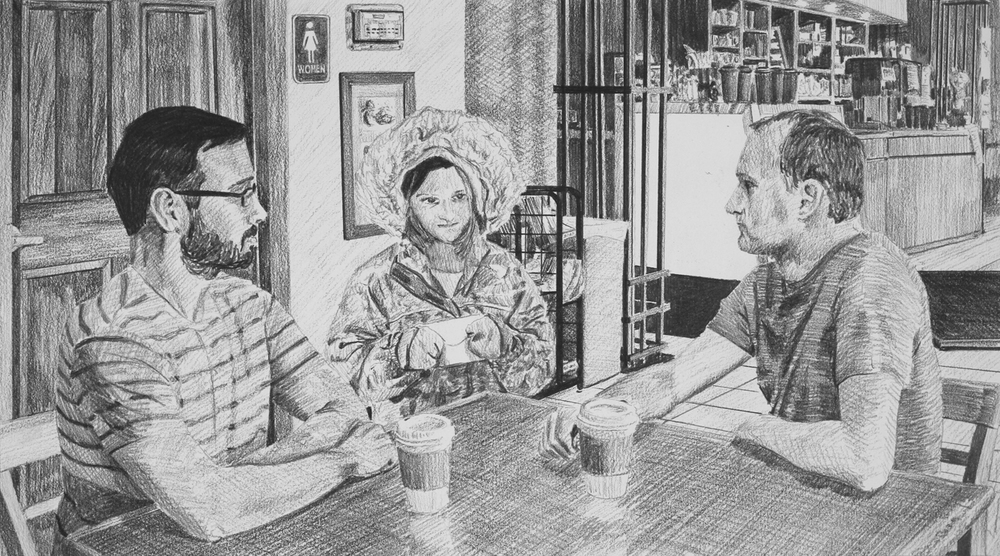 Returning the Cash  Ep 6 Scene 2 Graphite on paper