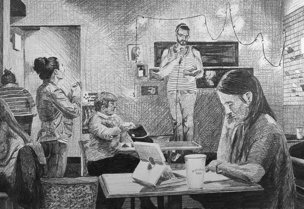Open Mic Poetry Slam  Ep 2 Scene 8 Graphite on paper