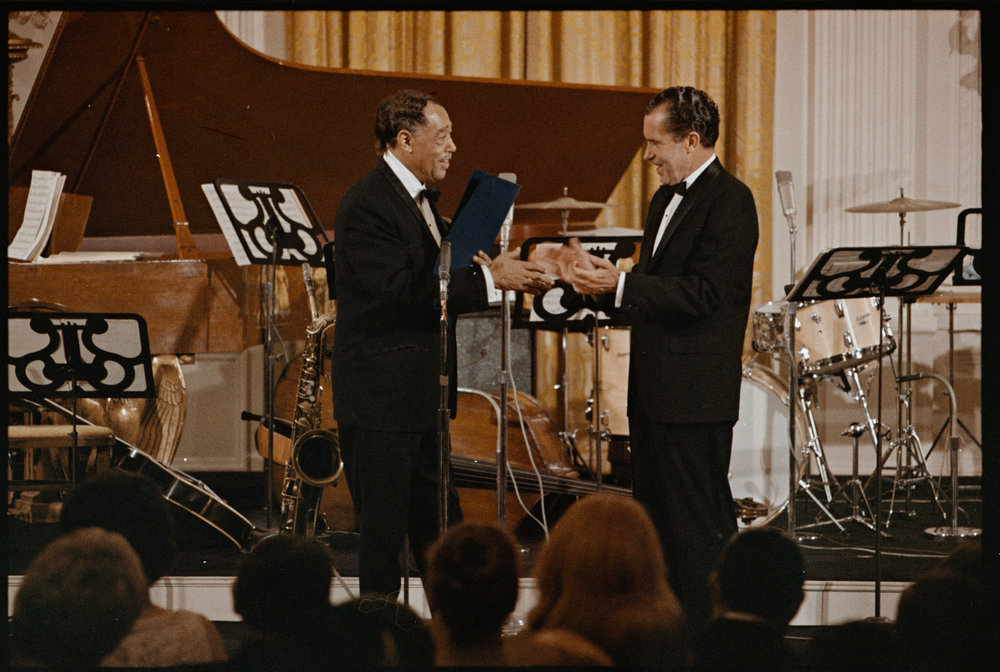 Duke Ellington receiving the Presidential Medal of Freedom from President Nixon, April 24, 1969
