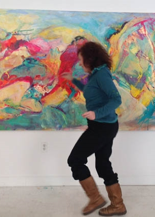 Marlene working on 'Three Women Dancing'