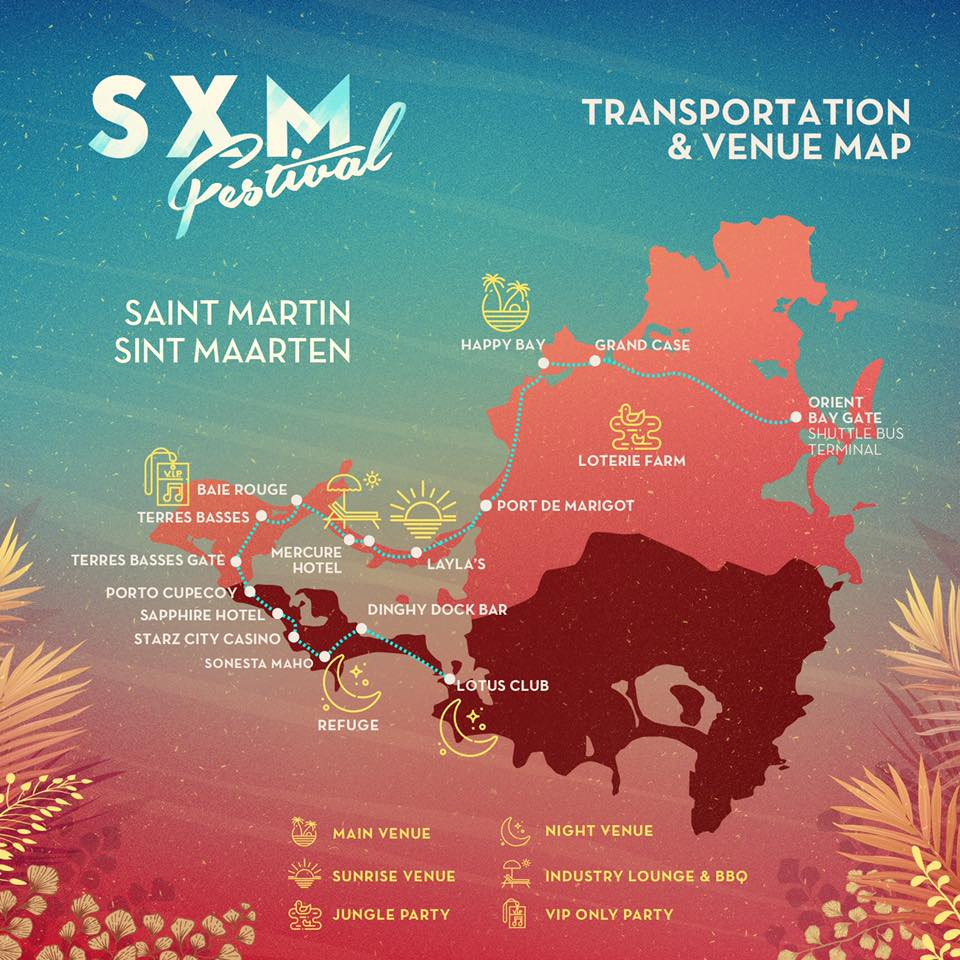 transportation and venue map 2019 sxm festival