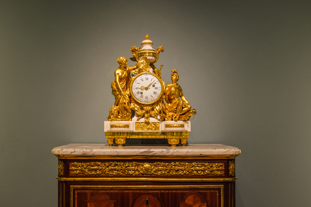 Mantel Clock with Figures of France and Mars by Jean Martin