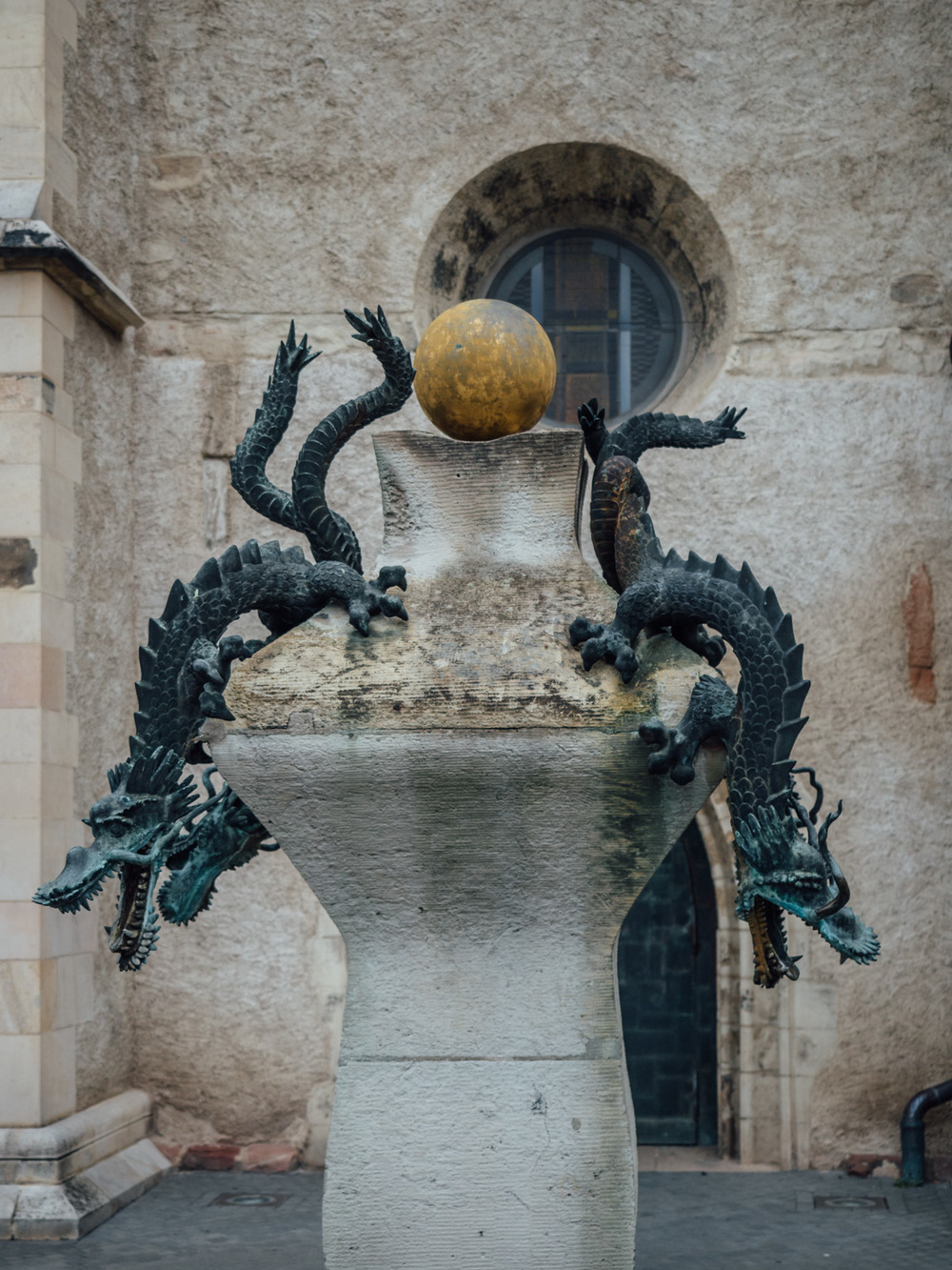 Dragon sculpture in front of the church