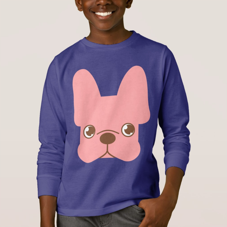 Pink Frenchie Long Sleeves T-Shirt