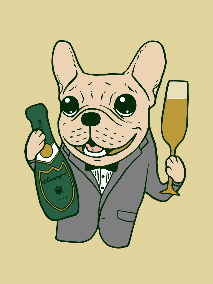 Enjoy the champagne with cute Frenchie at your celebration