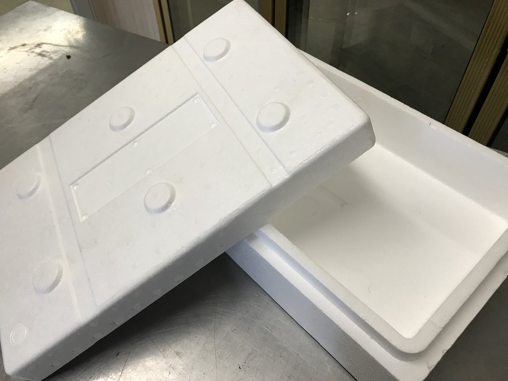 "styrofoam cooler boxes, still in transport wrap on pallets, interior size: 15"" x 9.5"" x 3"".  ~ 1,000 sets.  best offer on lot. FULL DETAILS ON ""SYROFOAM BOXES"" PAGE."