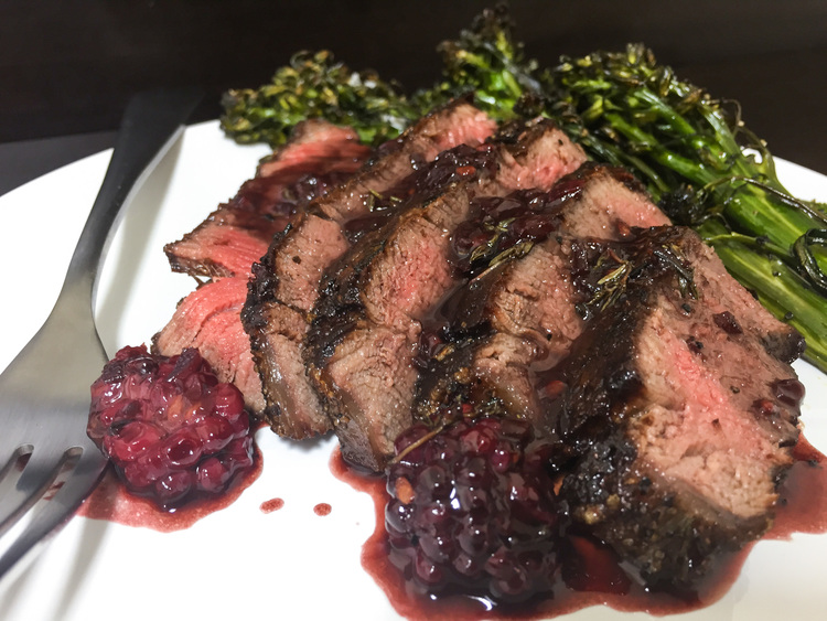 Filet Mignon with Blackberry Pan Sauce