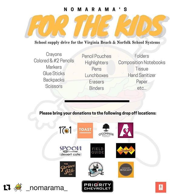 "::Trick Daddy voice:: @_nomarama_ for the kids 😎 • #Repost @_nomarama_ • ""We just want every student to have as equal of a chance as possible."" Please help us prepare our K-12 friends and family with what they need for the upcoming school year... it's all about community and local love at the end of the day!! ✌🏾 • #nomarama #backtoschool #schoolsupplies #locallove #community #philanthropy  #authenticmedia #757localbiz #smallbusiness #locbusiness #vabeach #virginiabeach #bizweekly #growyourbusiness #norfolk #nfk #hamptonroads"