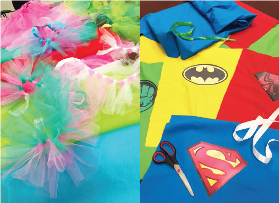 Above: our conference rooms were filled with colorful tutus and superhero capes throughout the entire month of December!