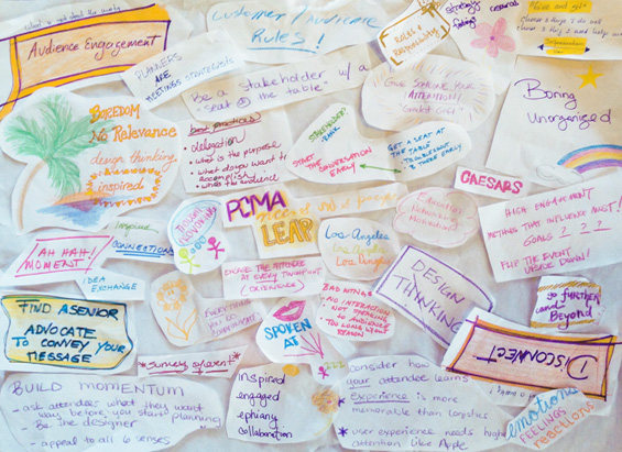 Attendees captured key messages and concepts with doodles, later used for a colorful, inspiring collage.