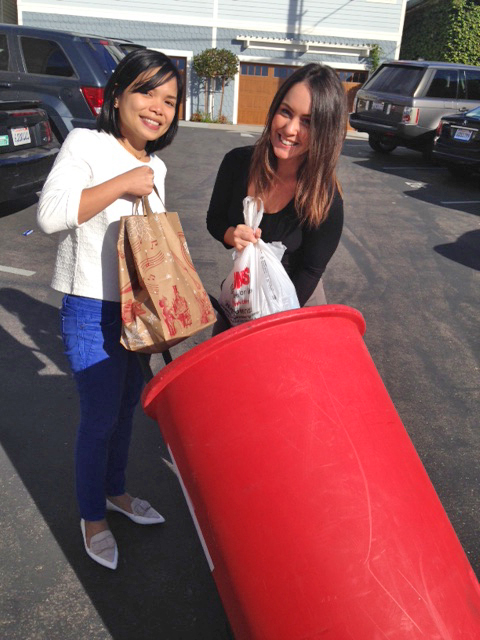 Uber partnered with the San Diego Food Bank to pick up donations from our headquarters. We had to unload half of the bin just to be able to lift it in the car!