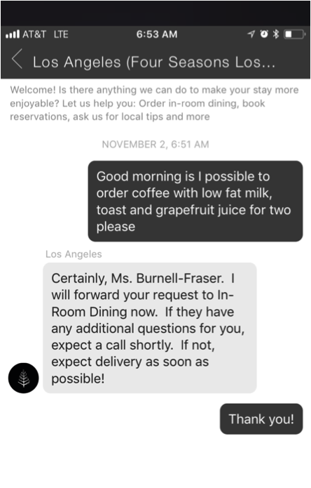 An example of a guest using the Four Seasons live chat feature.
