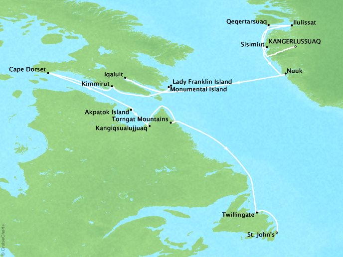 Canada & Colonial Coast - Kangerlussuaq Greenland to St. John's, Newfoundland15 Nights, September 3, 2018Aboard Silver Cloud ExpeditionAsk about similar itineraries on alternate dates.Contact your personal travel advisor for our private pricing for new bookings.