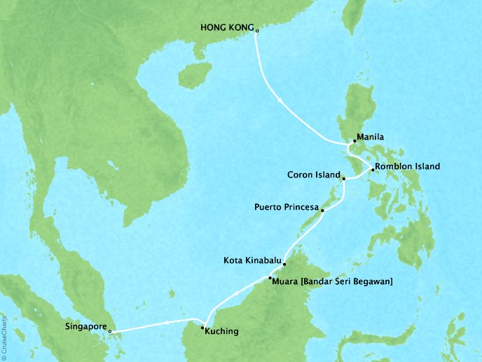 Asia Cruise - Hong Kong, China to Singapore, Singapore13 Days, November 19, 2018Aboard Silver MuseContact your personal travel advisor for pricing, similar itineraries, or alternate dates.This itinerary has Virtuoso Voyage benefits!Plus, ask about the