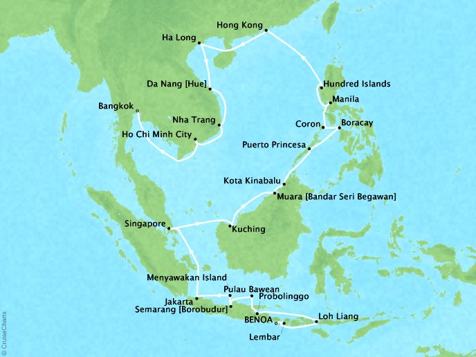 Star Collector: South China Sea Explorer - 38 Days, January 2, 2019Aboard Star LegendBenoa (Bali), Indonesia to Bangkok, ThailandWas $20,199 ppNow $8,399 pp