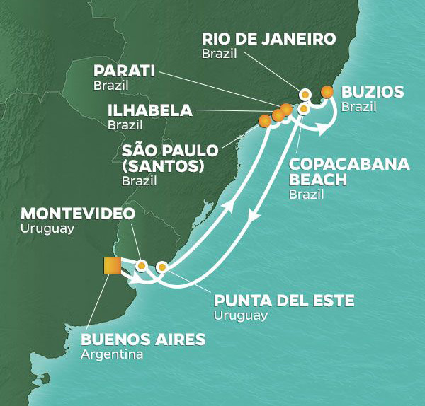 15-Night New Year's Eve in RioDecember 21, 2019Azamara Pursuit℠Roundtrip Buenos Aires, Argentina - Say Hello to 2020!Ring in the New Year onboard or samba down to Copacabana Beach to celebrate like a local.
