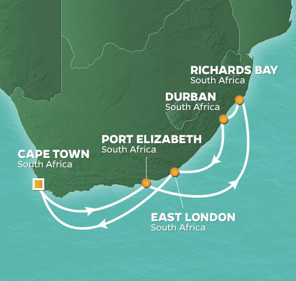 10 Night South Africa IntensiveJanuary 21, 2020Azamara Quest®Roundtrip Cape Town, South Africa - Tee Off in South AfricaGolf South Africa's stunning coastline, from the Atlantic Ocean to the Sunshine Coast and back again.