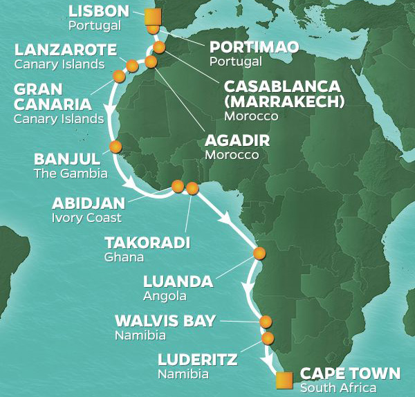 22 Night South African JourneyNovember 10, 2020Azamara Journey®Lisbon, Portugal to Cape Town, South Africa - Dive Into Africa's Western ShoresEmbark on a journey that begins in Europe and ends in Africa's southernmost port.